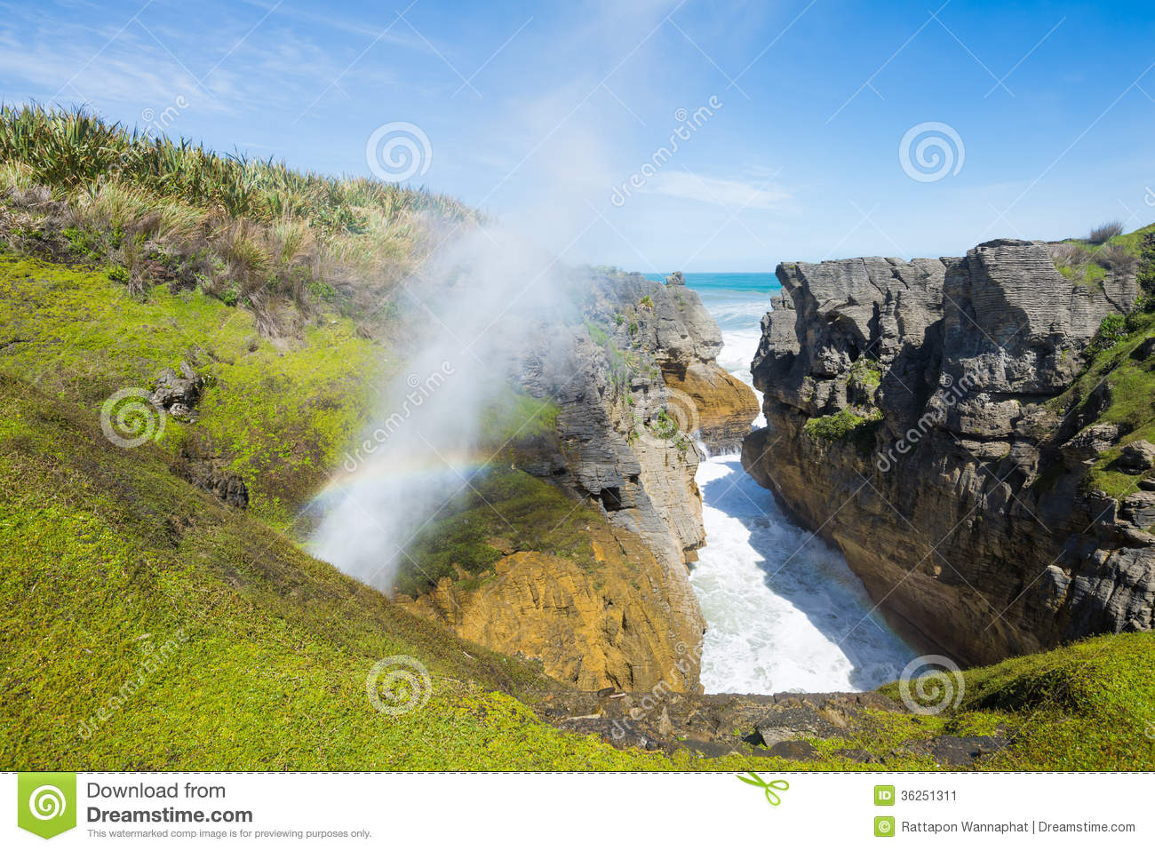 Punakaiki Pancake Rocks, New Zealand Stock Photos.