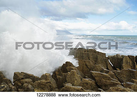 Pictures of The Punakaiki blowholes on the West Coast of the South.