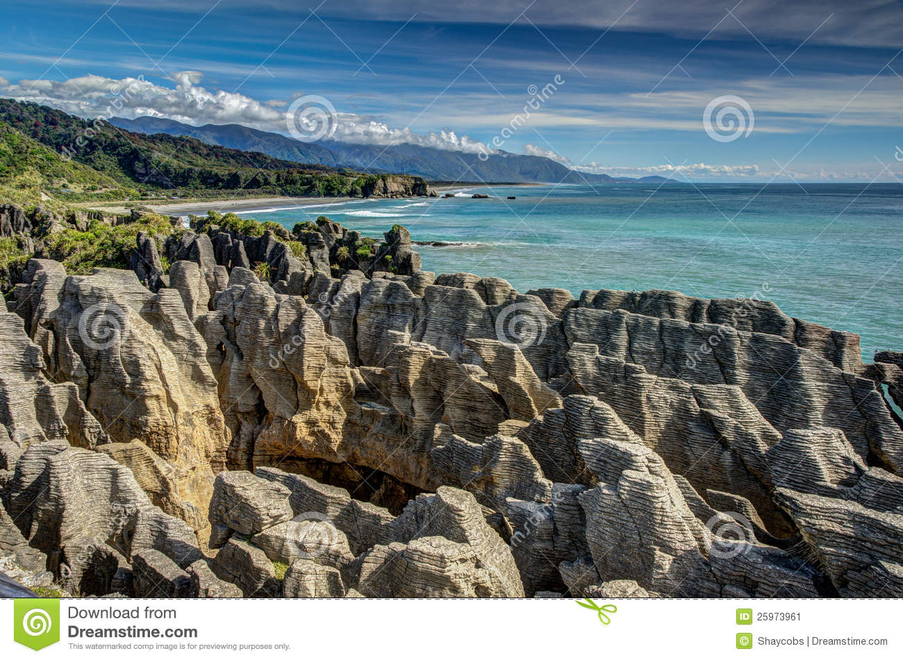 Pancake Rocks, Punakaiki, West Coast, New Zealand Stock Image.