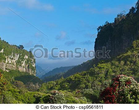 Stock Photography of Punakaiki River valley in Paparoa NP, New.