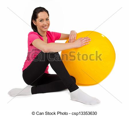 Stock Photos of Happy young fitness woman with punch ball.