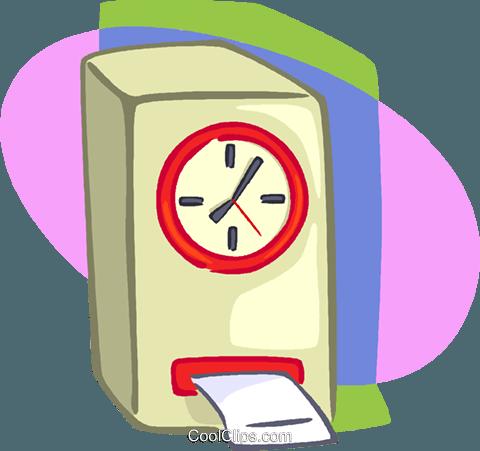 punch clock Royalty Free Vector Clip Art illustration.