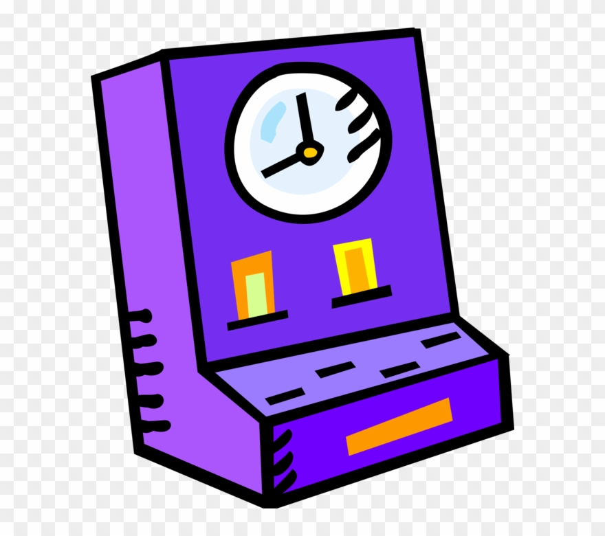 Vector Illustration Of Punch Clock Or Time Clock Tracks.