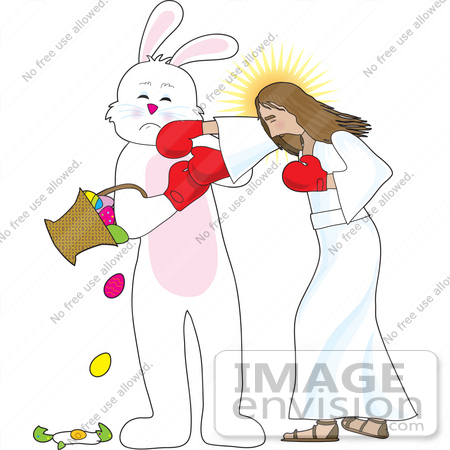Clip Art Graphic of the Easter Bunny Getting Punched by Jesus.