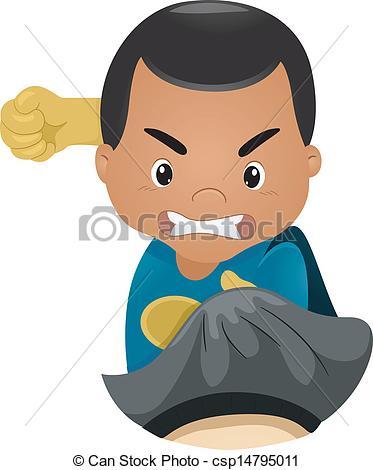 A boy punching clipart.