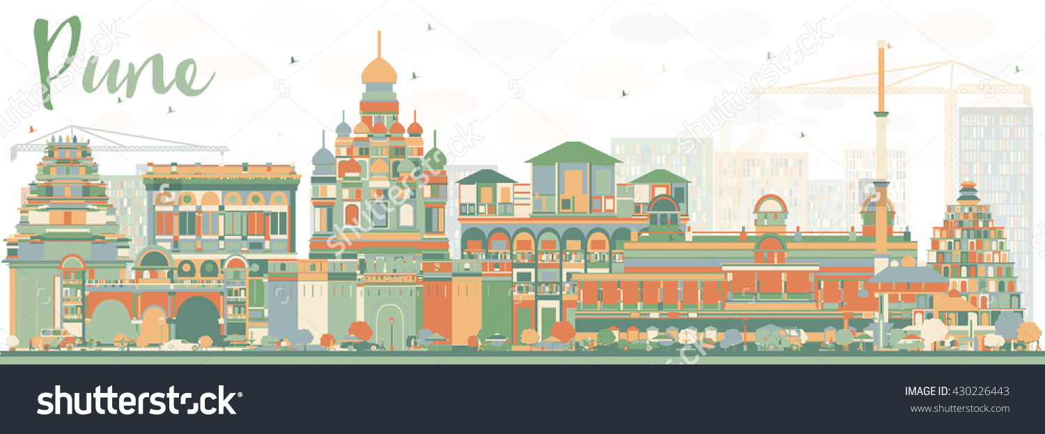 Abstract Pune Skyline Color Buildings Business Stock Illustration.