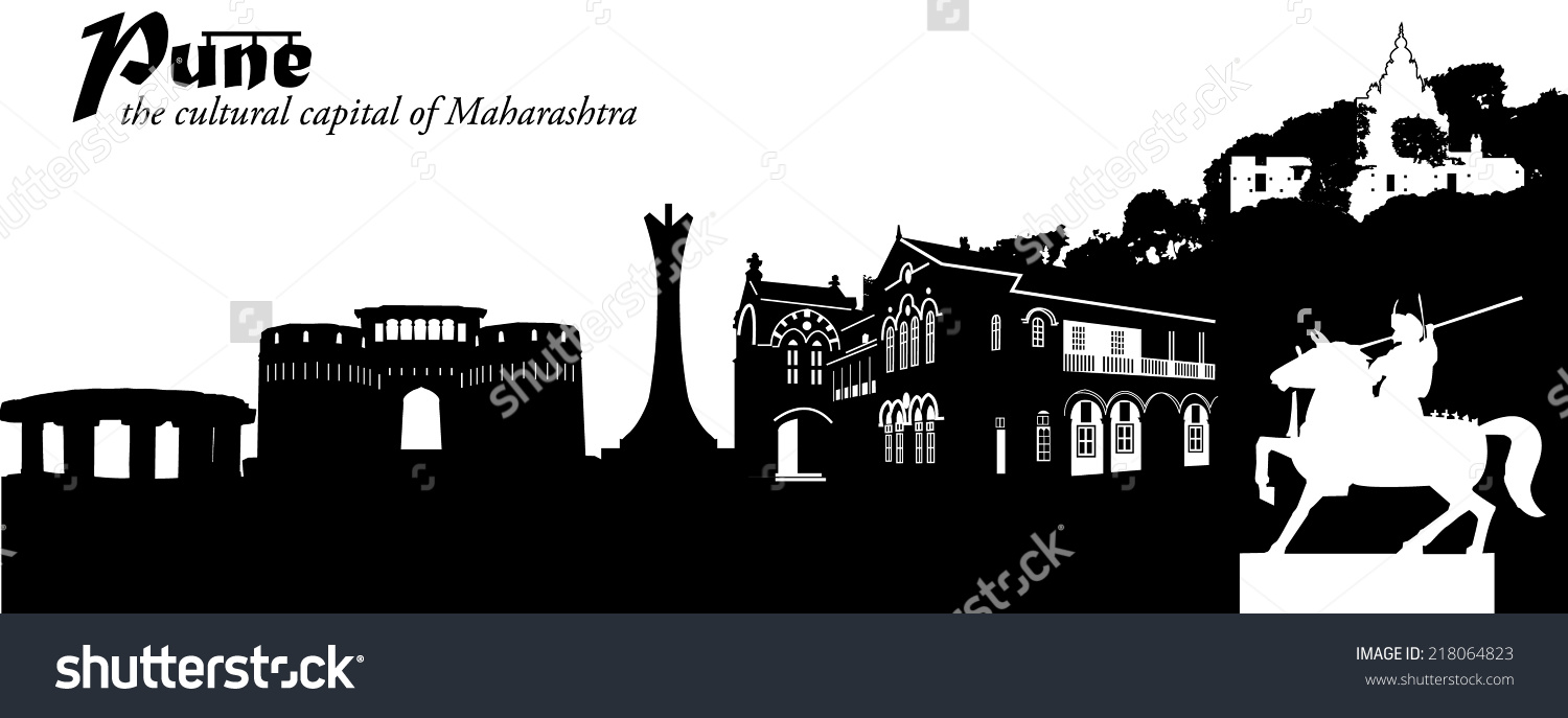 Vector Illustration Cityscape Pune India Silhouette Stock Vector.