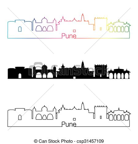 Vector Clipart of Pune skyline linear style with rainbow in.