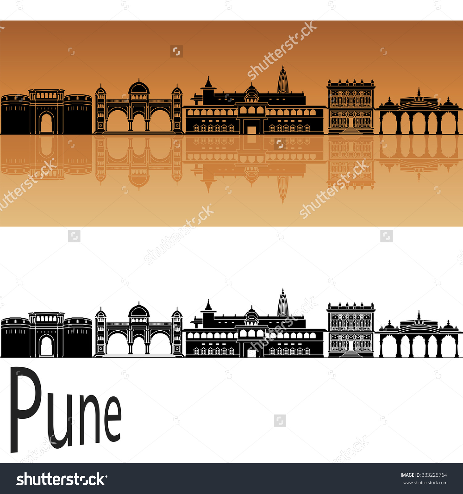 Pune Skyline Orange Background Editable Vector Stock Vector.