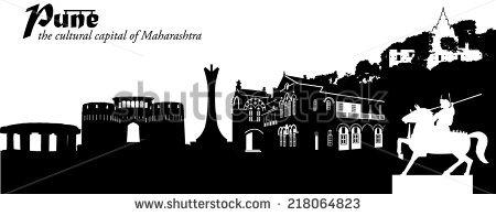 Vector Illustration Cityscape Pune India Silhouette Stock Vector.