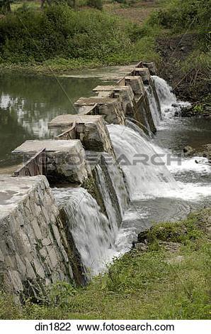 Stock Photo of Water Dam at Ralegan Siddhi near Pune ; Maharashtra.