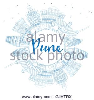 Outline Pune Skyline With Blue Buildings. Vector Illustration.