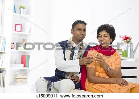 Stock Photography of punjabi family mother and son with lifestyle.