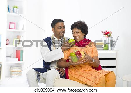 Stock Photo of healthy punjabi family mother and son with.