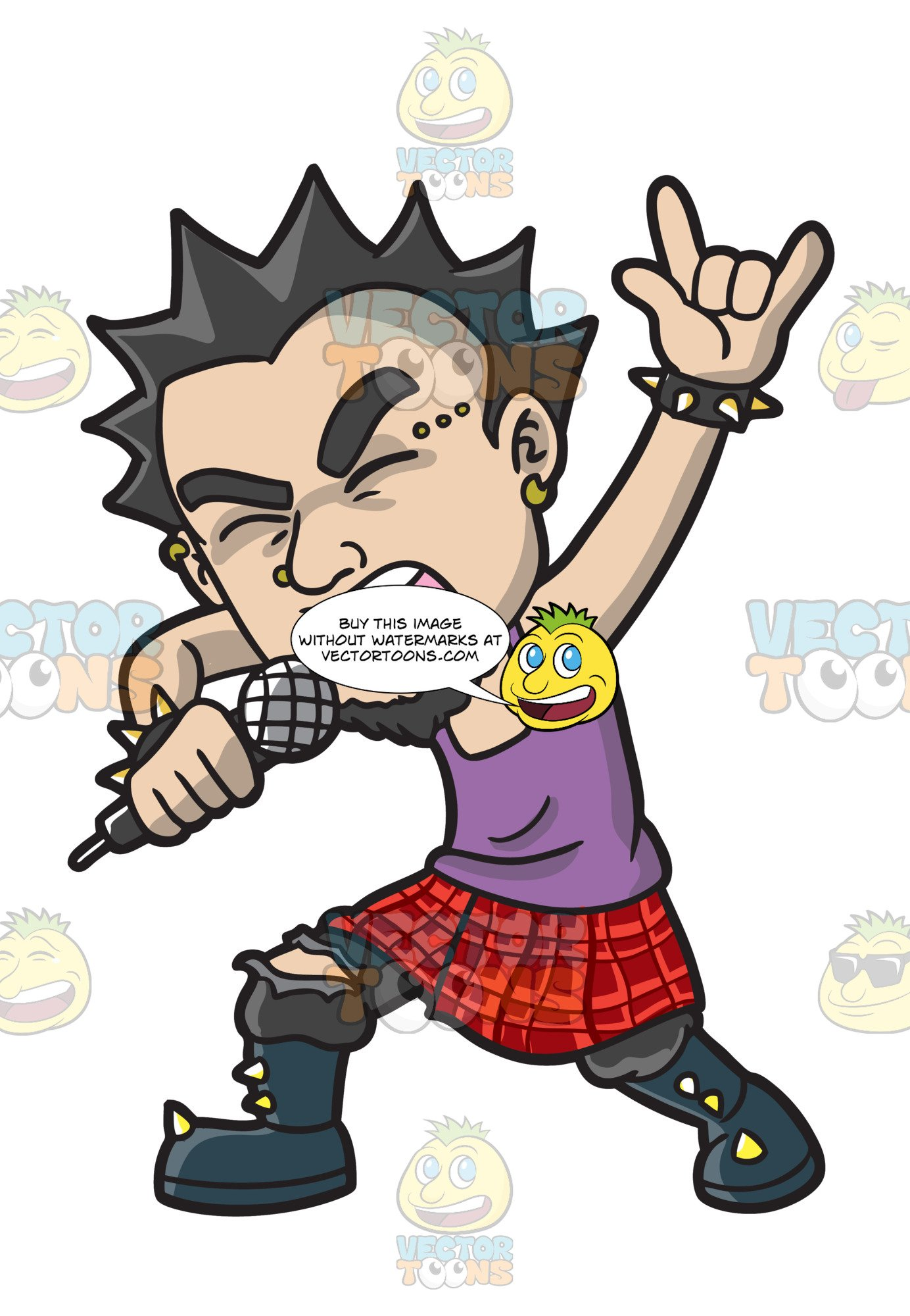 A Punk Rock Star Wearing A Kilt.