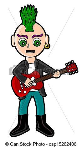 Vector Clipart of Punk guitarist.