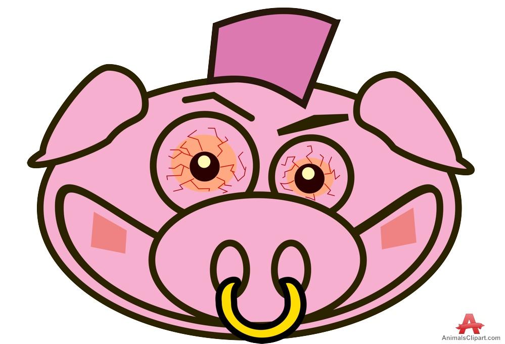 Punk Pig Head Clipart.