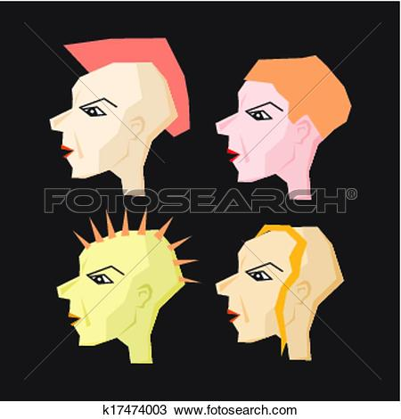 Clipart of Women Punk Head Illustration k17474003.