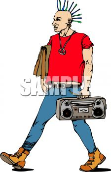 Punk Rocker Walking with a Boombox.