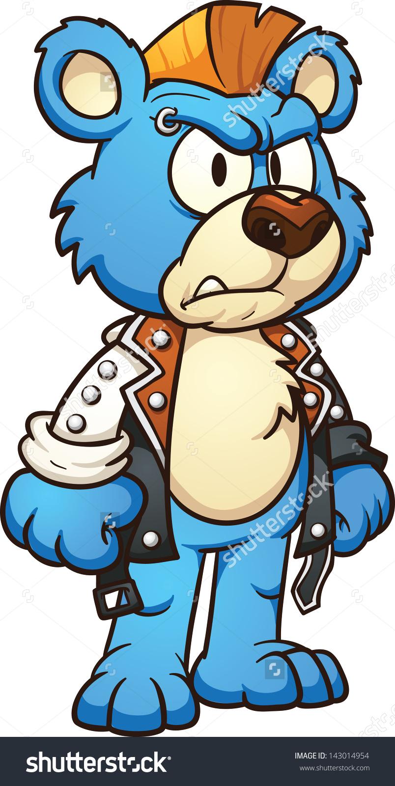 Punk Cartoon Bear Wearing Mohawk Vector Stock Vector 143014954.