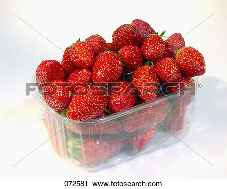 Stock Photography of punnet of strawberries 072581.
