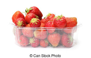 Stock Photography of punnet of strawberries isolated on white.