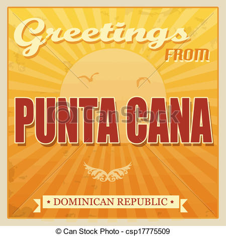 Vector Clipart of Punta Cana, Dominican Republic touristic poster.
