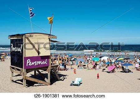 Stock Photography of Beach kiosk with personal publicity in Punta.