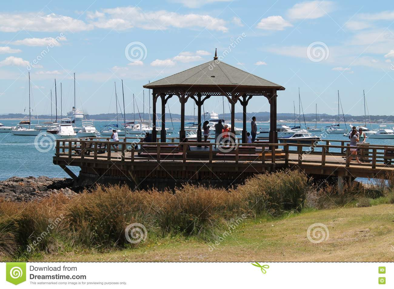 Pier In Punta Del Este, Uruguay Stock Photo.