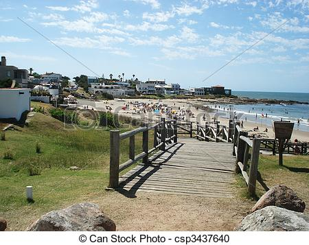 Stock Photography of punta del este beach.
