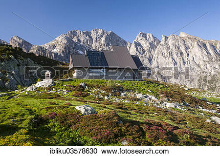 """Stock Photography of """"Rifugio Garelli mountain hut in front of the."""