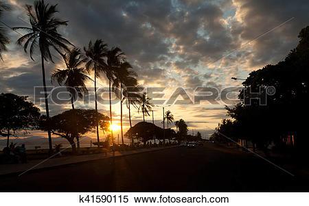 Stock Image of Costa Rica. Puntarenas during sunset k41590115.