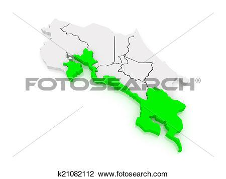 Clip Art of Map of Puntarenas. Costa Rica. k21082112.