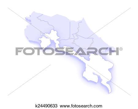 Drawing of Map of Puntarenas. Costa Rica. k24490633.