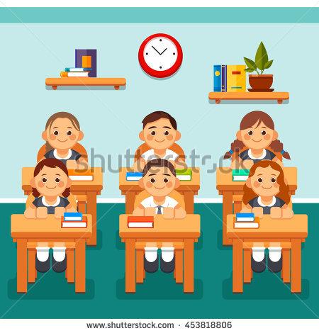 Teacher School Kids Classroom Lesson Vector Stock Vector 483928876.