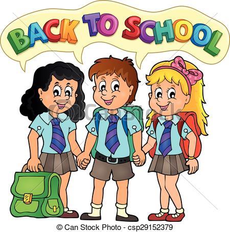 Vectors Illustration of School pupils theme image 5.