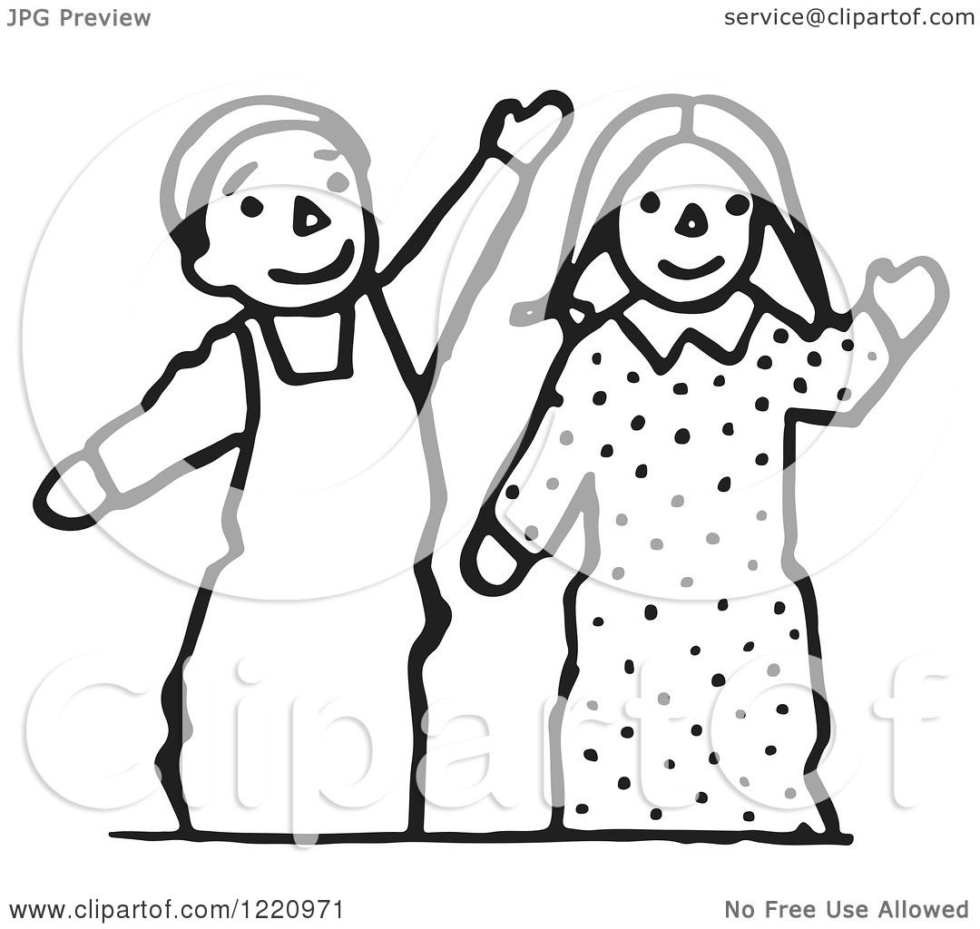 Clipart of Black and White Waving Puppets.
