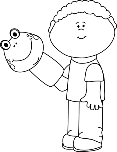 Black and White Little Boy with a Puppet Clip Art.