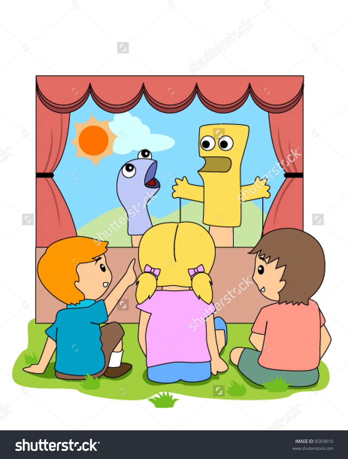 Children Watching Puppet Show Vector Stock Vector 8569810.