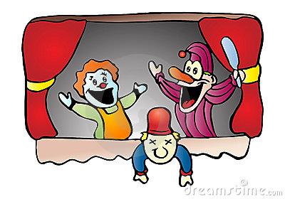 Cute clipart puppet show.