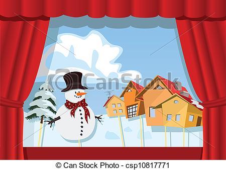 Christmas puppet show clipart.