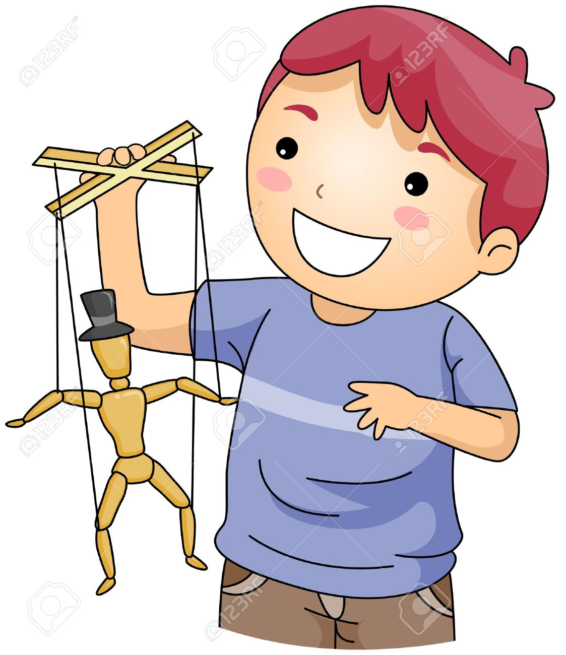 Illustration Of A Young Puppeteer Stock Photo, Picture And Royalty.