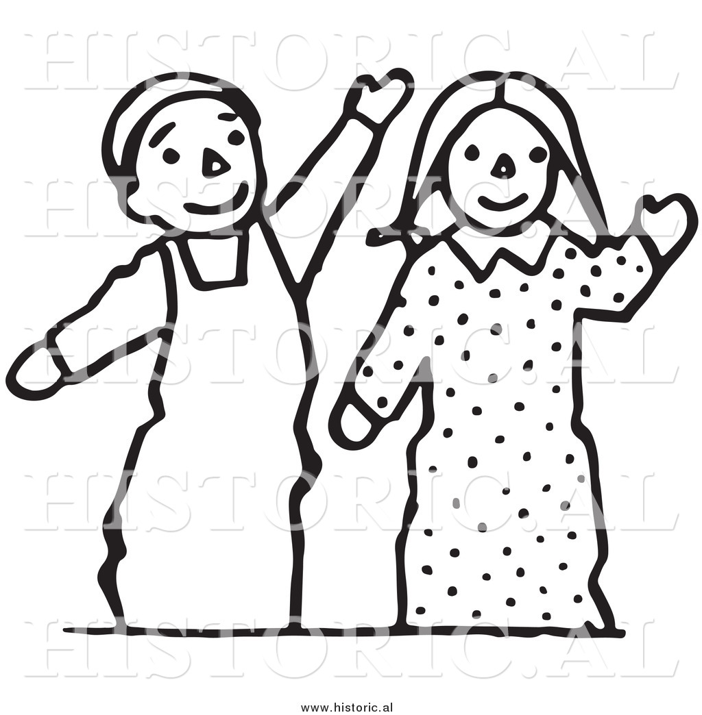 Clipart of Waving Boy and Girl Puppets.