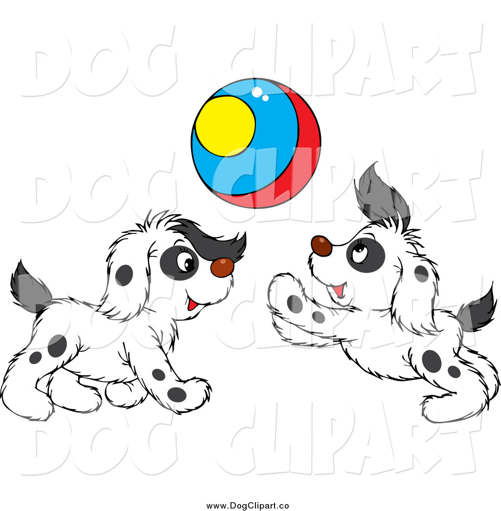 Vector Clip Art of Spotted Puppies Playing with a Colorful.