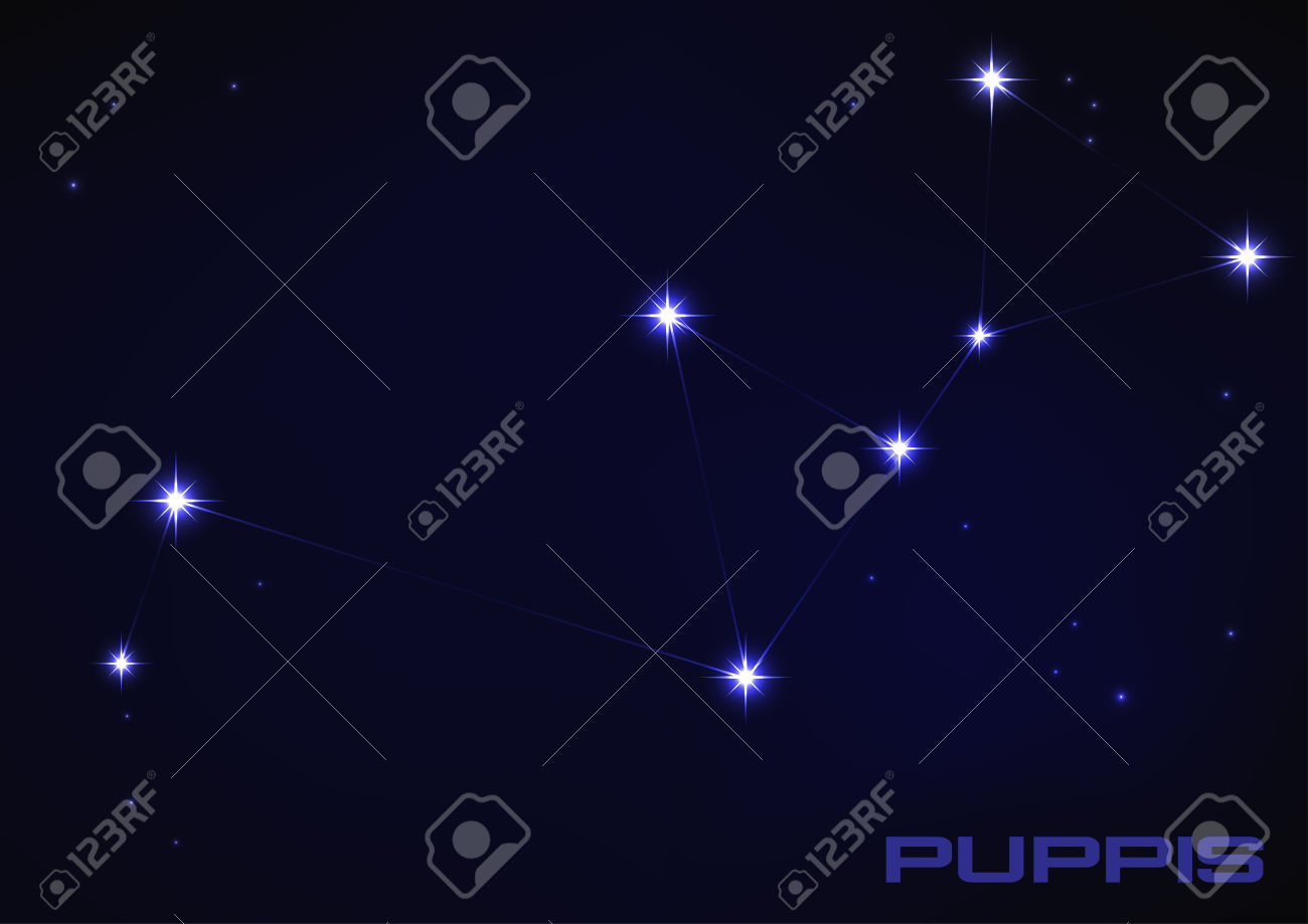 Vector Illustration Of Puppies Constellation In Blue Royalty Free.