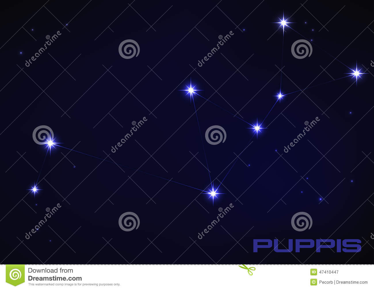 Puppies Constellation Stock Vector.