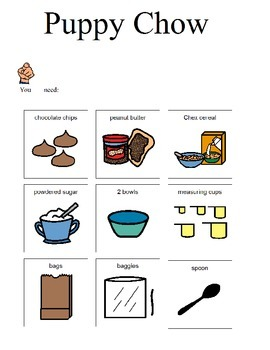 Visual recipe for Puppy Chow for students with disabilities, autism.