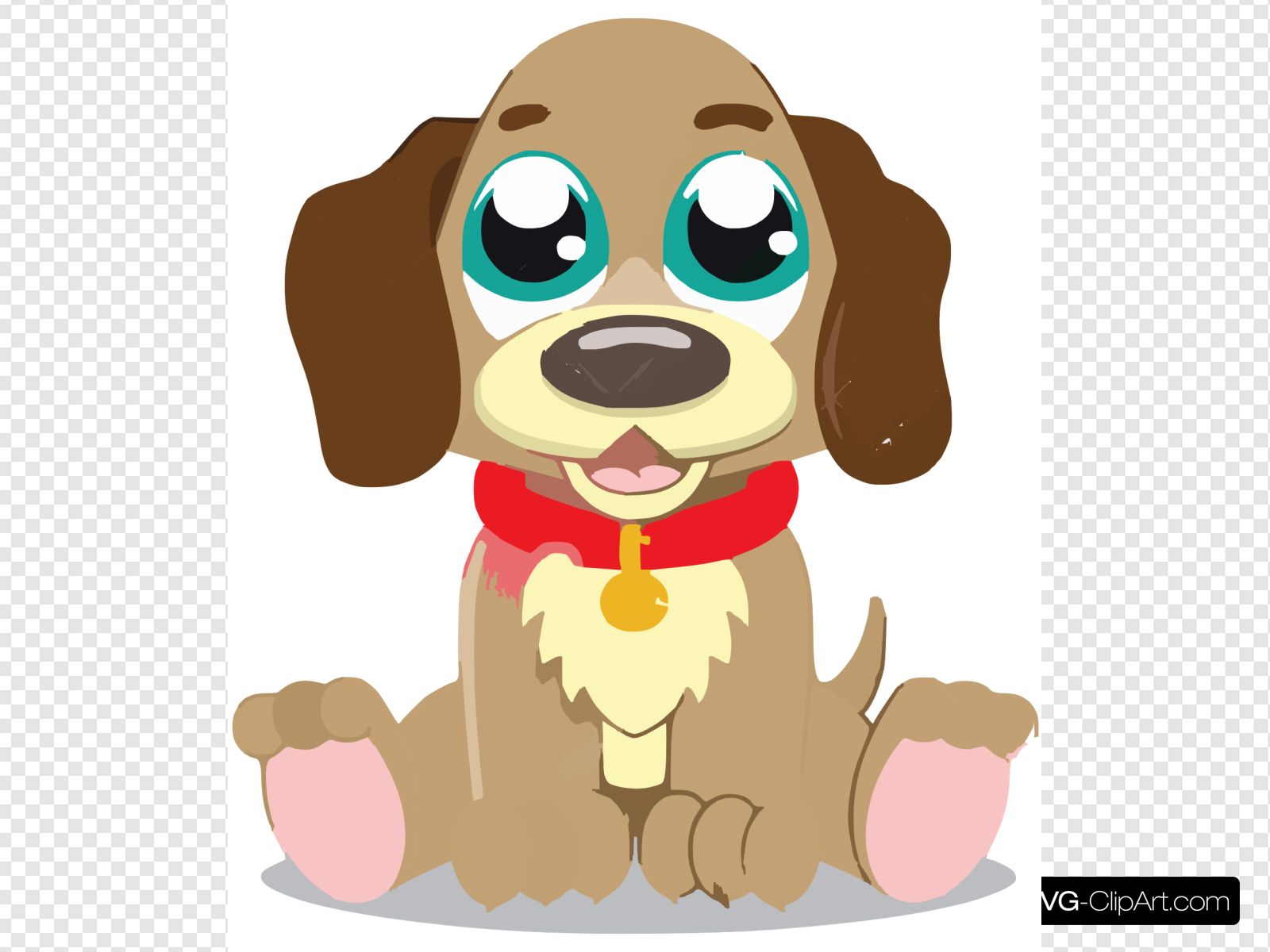 Cute Cartoon Puppy Clip art, Icon and SVG.