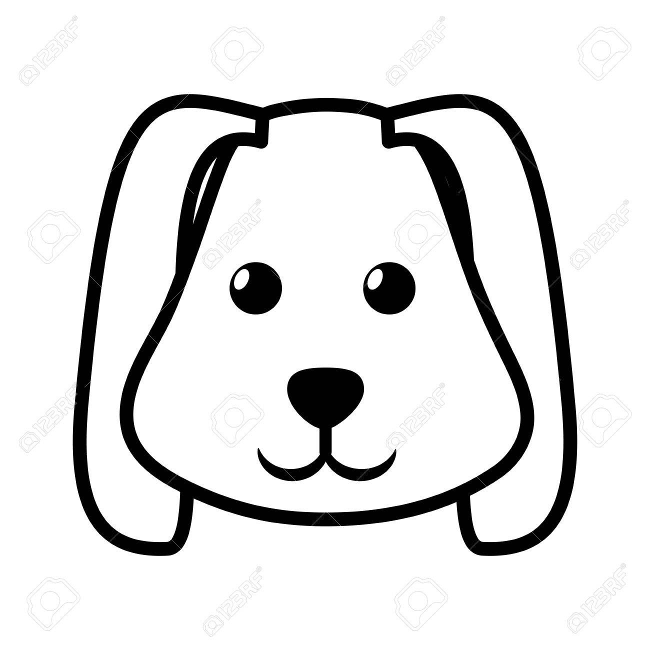 Free Dog Face Clipart Black And White.