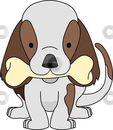 Illustration of puppy with bone stock vector.